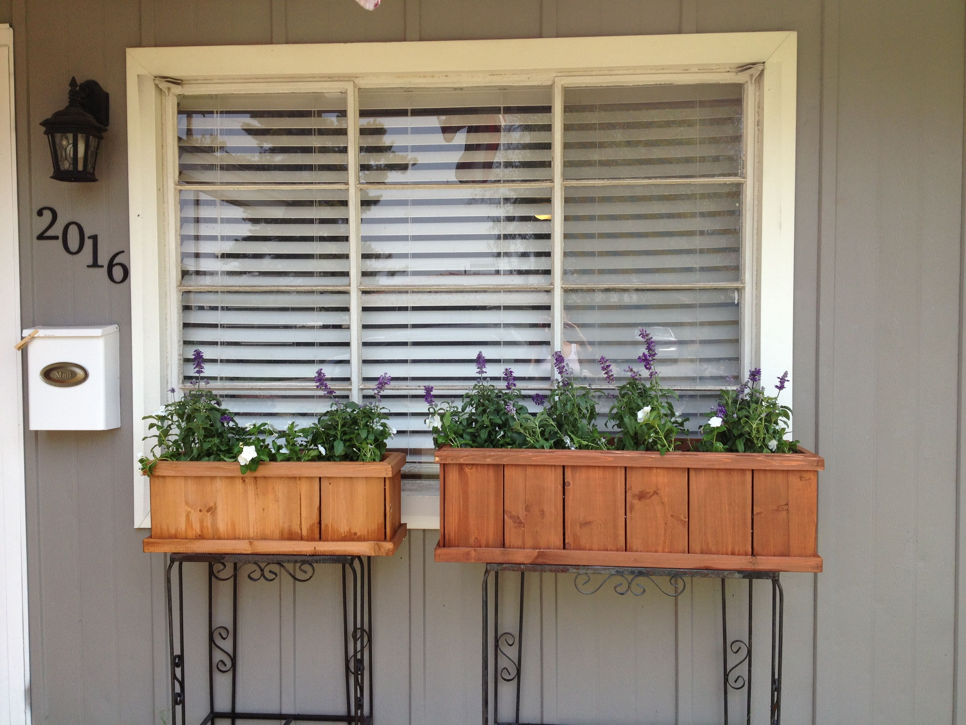 Fish tank used - Old Wrought Iron Fish Tank Stands Used To Hold Up Cedar Planter Boxes Outside Kitchen Window