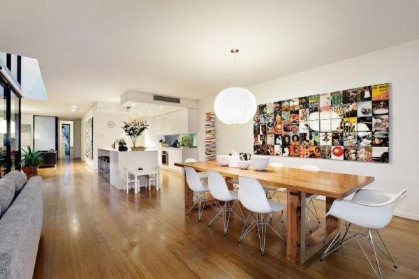 Offener Wohnraum-weiß Wandfarbe-Heller Parkettboden-Wand - Esszimmer Modern Weiss