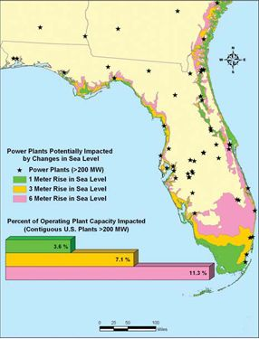 Florida Nuclear Power Plants Map Reads Pinterest Sea Level - Sea level rise map florida