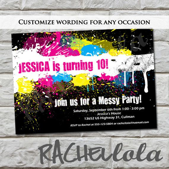 Messy party birthday invitation do it yourself digital print messy party birthday invitation do it yourself digital print paint party solutioingenieria Gallery