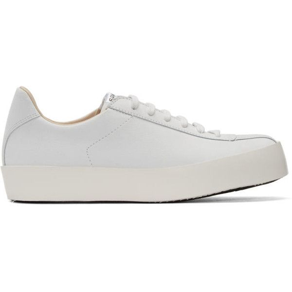 Spalwart White Leather Court Sneakers ($370) ❤ liked on Polyvore featuring shoes, sneakers, white, leather low top sneakers, white shoes, leather sneakers, lace up sneakers and white low top shoes