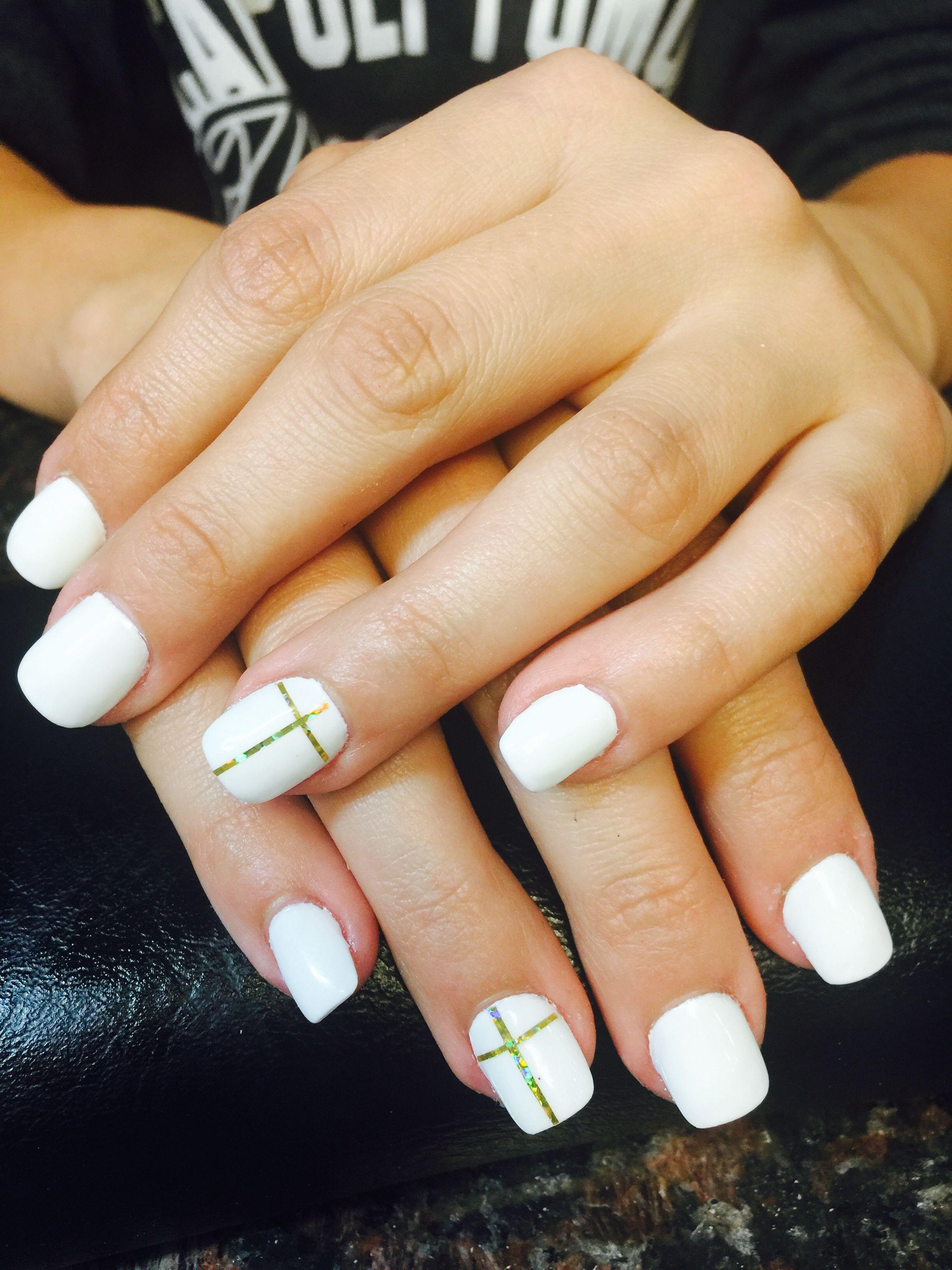 White Nailsgold Stripscriss Cross Designsnails Artcool Nails
