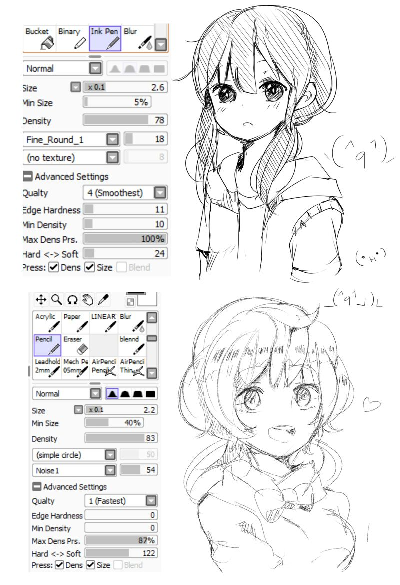 Brushes For Character Design : Sai ink and sketch pencil doodle brushes how to