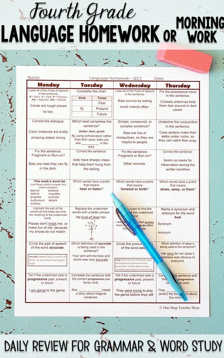 4th Grade Language Spiral Review | Homework, Morning Work ...