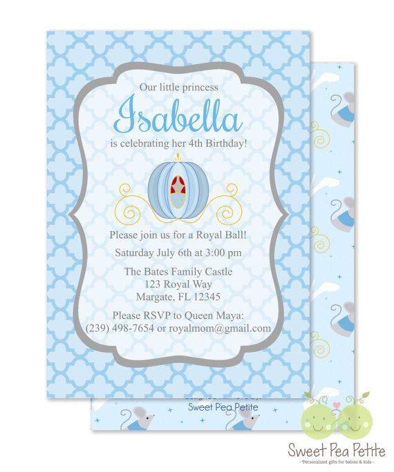 Cinderella invitations cinderella invites personalized 5 x 7 cinderella invitations cinderella invites personalized 5 x double sided and printed birthday invitations princess birthday party filmwisefo