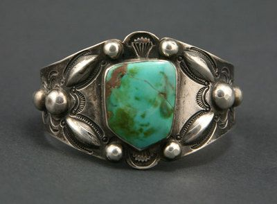 Navajo Blue Gem Turquoise and Silver Bracelet, circa 1920