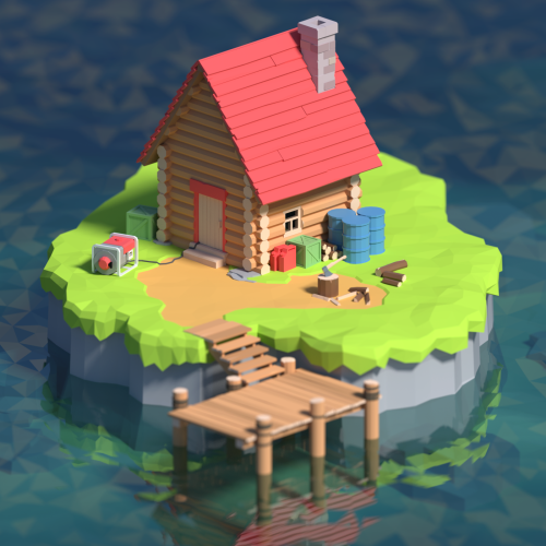 forester's hut on an island, just for fun ) http
