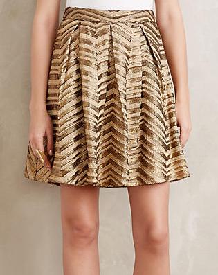 gilded chevron gold skirt