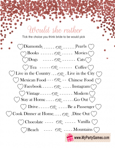 photo relating to Would She Rather Bridal Shower Game Free Printable named Would She Quite, Absolutely free Printable Bridal Shower Video game Free of charge
