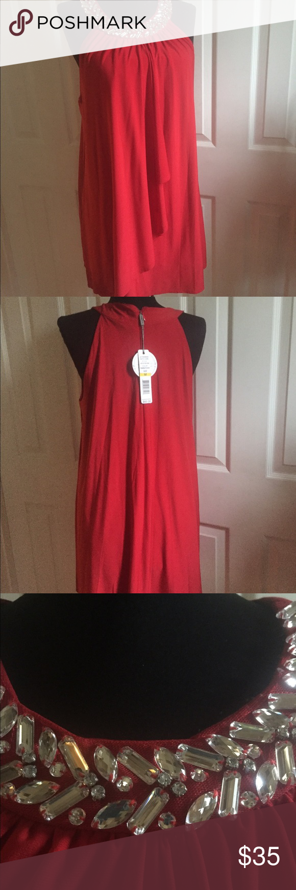 Joseph A Red Dress New-- Joseph A Red Dress Embellished Halter Dress :  ·       Silhouette: Shift ·       Closure: Back Zipper ·       Sleeve Length: Sleeveless ·       Total Length: 32 Inches ·       Bust Across (Underarm to underarm): 21 Inches; size: S ·       Waist Across: 24 Inches ·       Hips Across: 26 Inches Joseph A Dresses Midi