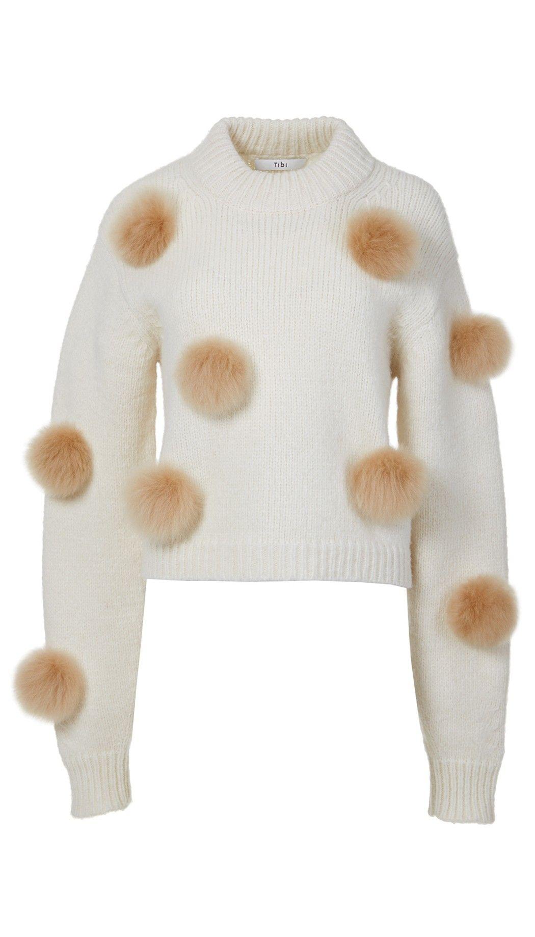1c6904e4c5c9 Tibi Alpaca Pom Pom Cropped Sweater