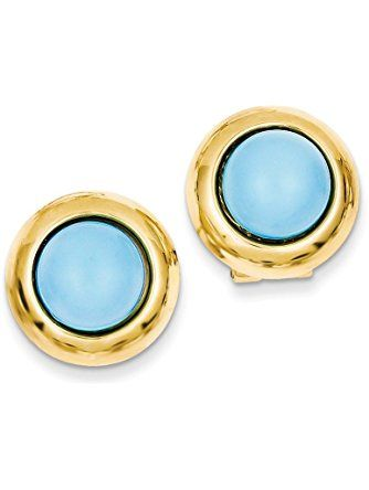 14K Yellow Gold Omega Clip Reconstituted Simulated Turquoise Earrings (17mm x 17mm) ❤ Mia's Collection