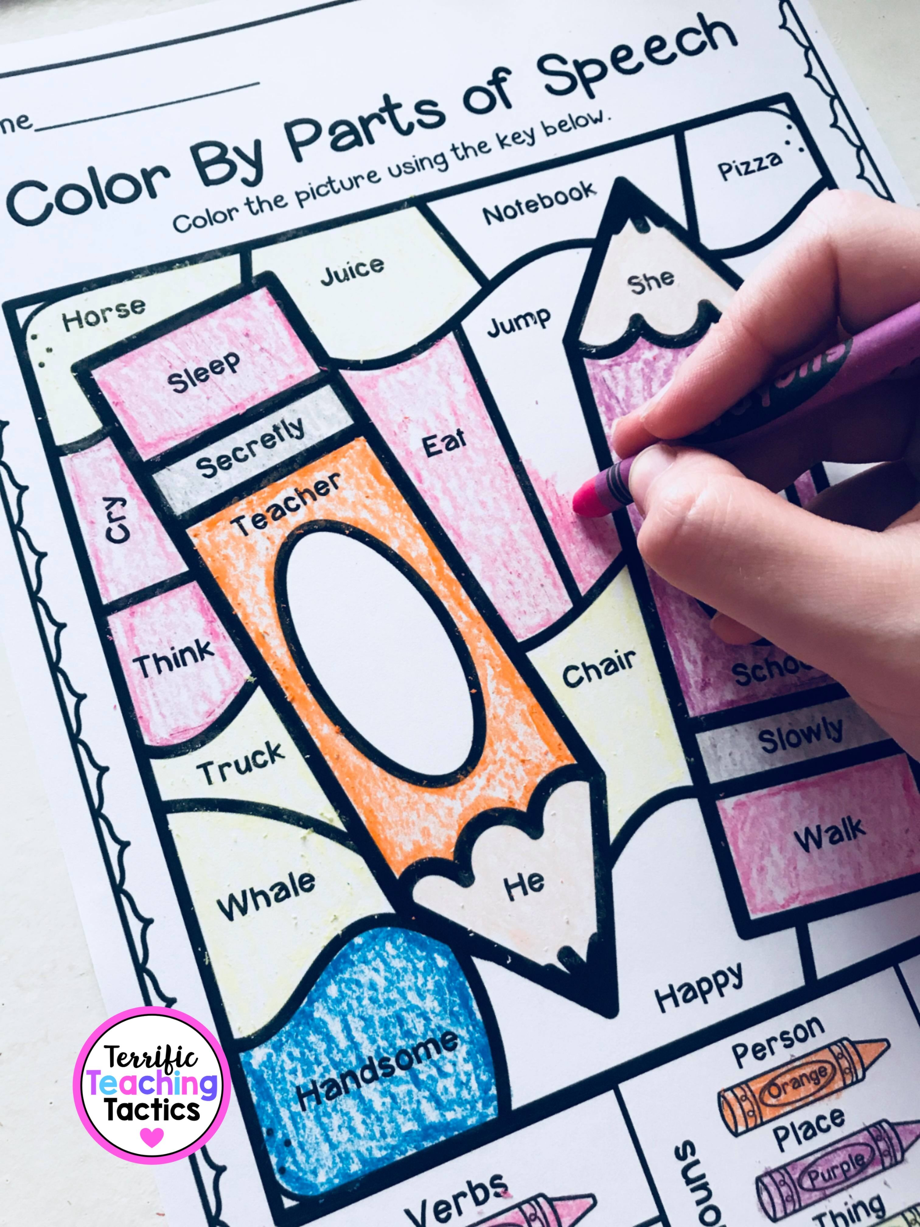 Color By Parts Of Speech Fun Grammar Worksheets In