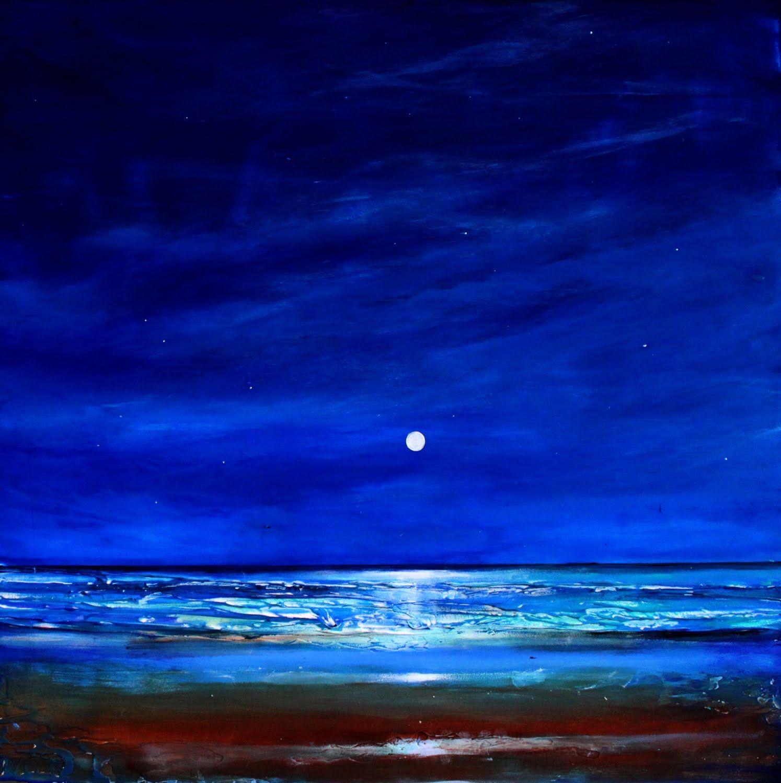 Ocean Beaches At Night Paintings