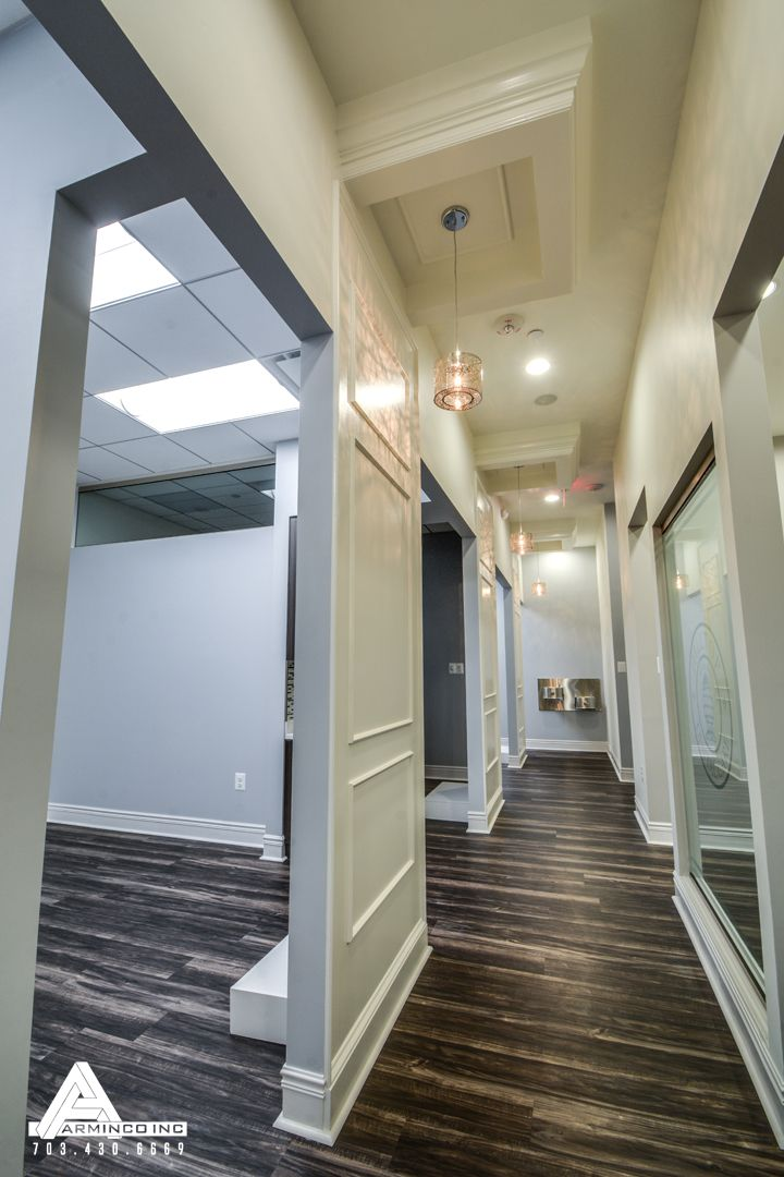 classic contemporary office hallway dental office design by arminco inc