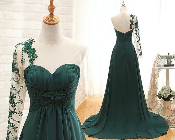 prom dresses,chiffon evening gowns,green prom gowns, lace evening dress,one shoulder party gowns