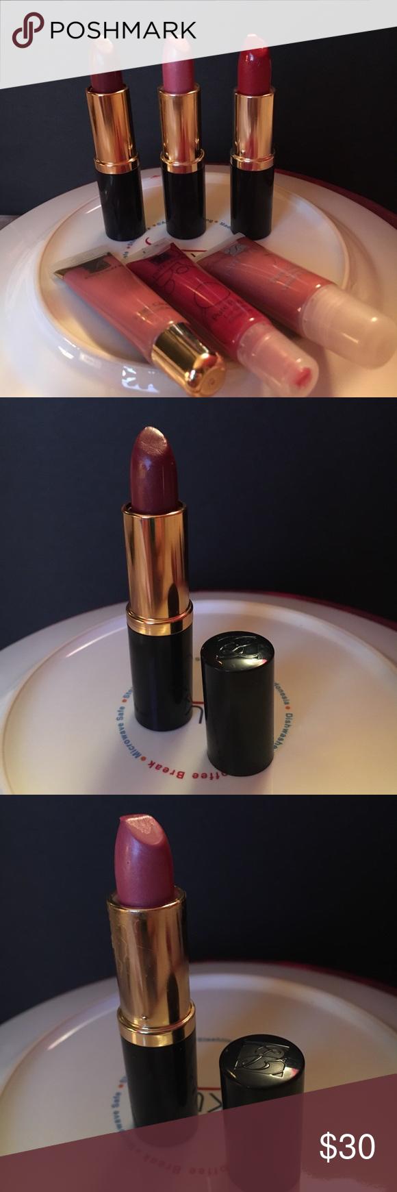 6 Estée Lauder Lipsticks/ Gloss Includes 3 Lipsticks (Fig