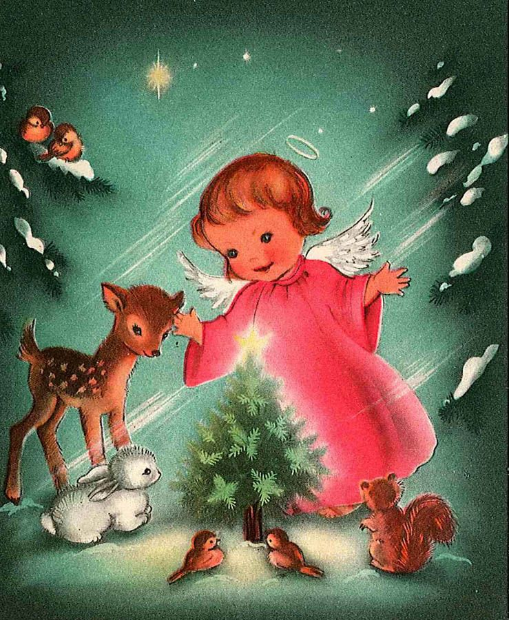 free angel postcard Vintage Christmas postcards and images of