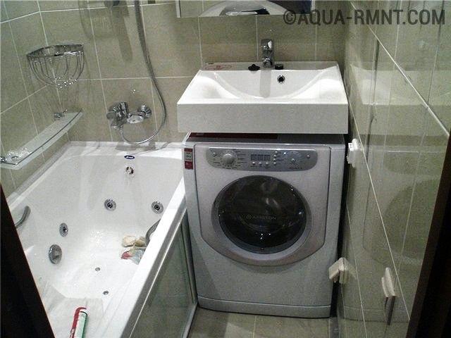 фото раковина над ванной