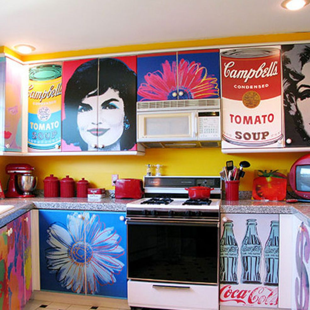 Decoupage Kitchen Cabinets With Andy Warhol Posters Decoupage Furniture Furniture Overlays Decoupage