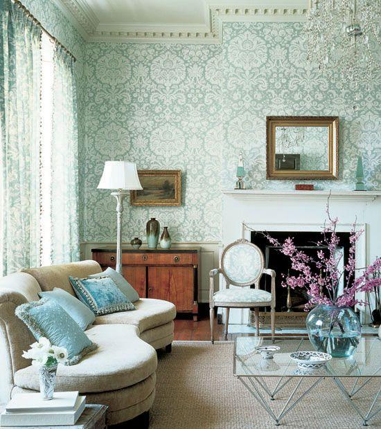 A Sea Of Seafoam Green Modern Traditional Living Room