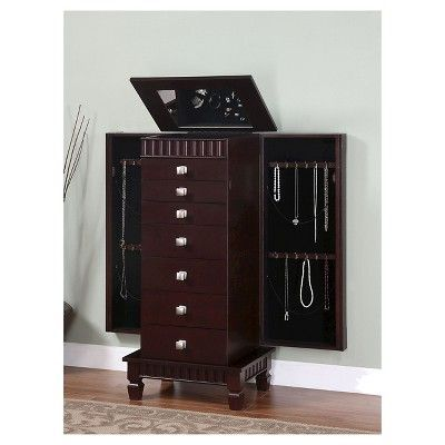 Contemporary Jewelry Armoire Merlot Powell Company Brown My