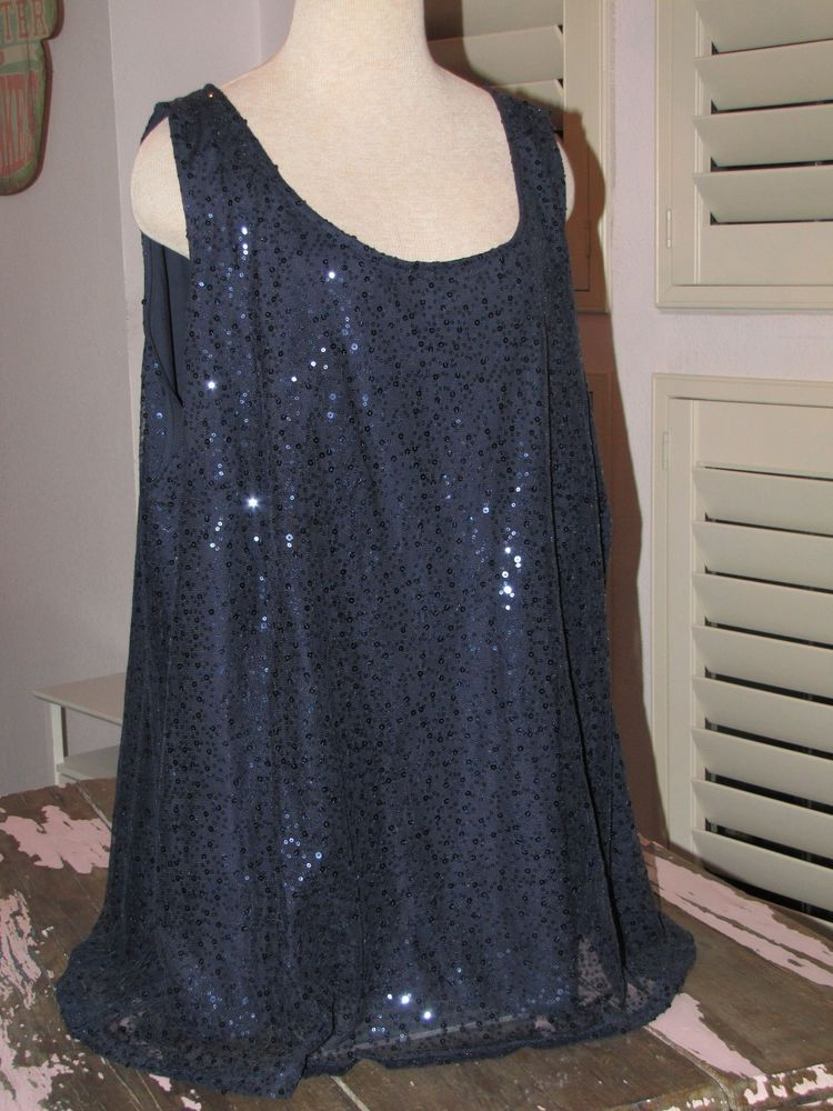 af7b6f62af NWOT~Catherines 5X New Years Eve Embellished Sequins Navy Blue Cami Tank  Top  Catherines  Cami  EveningOccasion