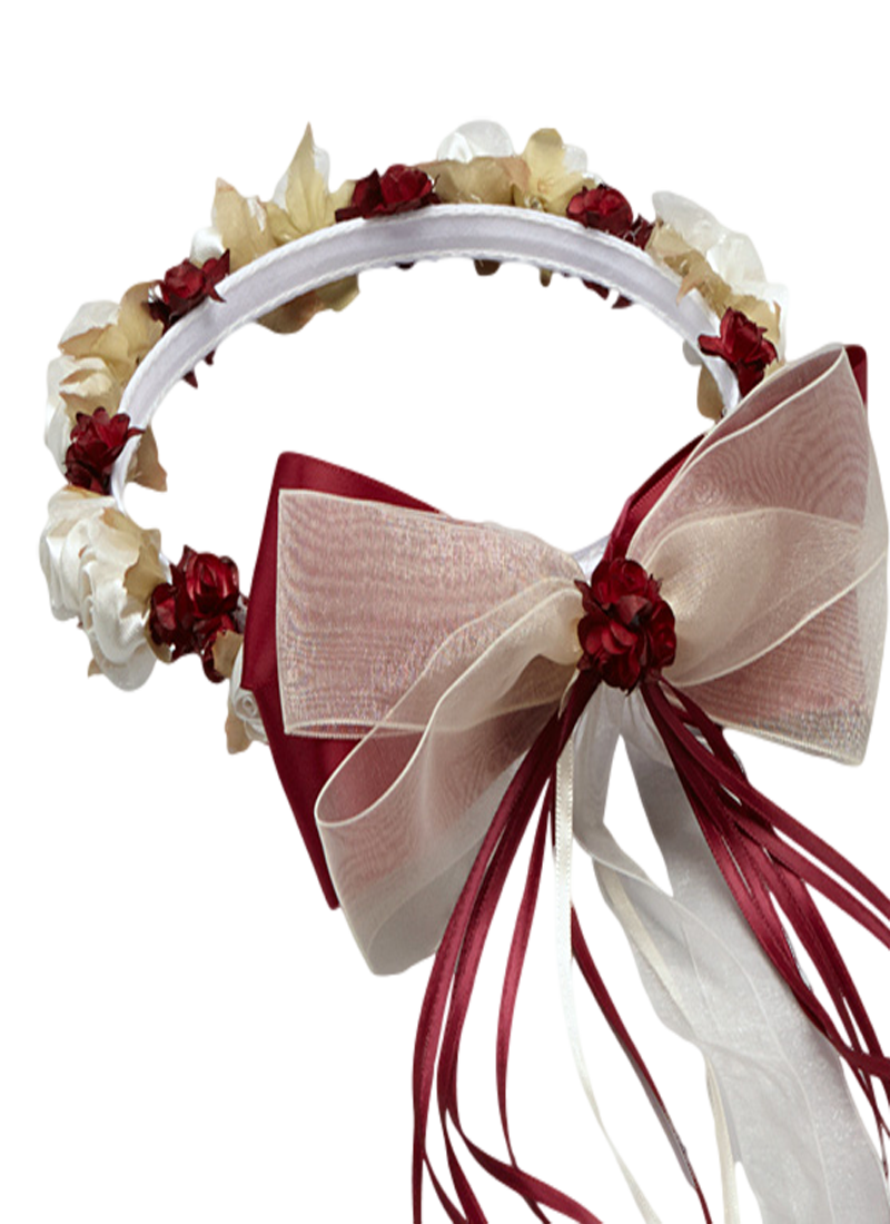 Burgundy floral crown wreath handmade with silk flowers satin a beautiful burgundy floral crown wreath handmade to order with a variety of silk flowers dhlflorist Image collections