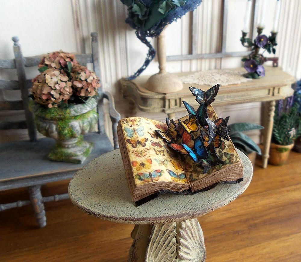 Old book with miniature butterflies Miniature Collection