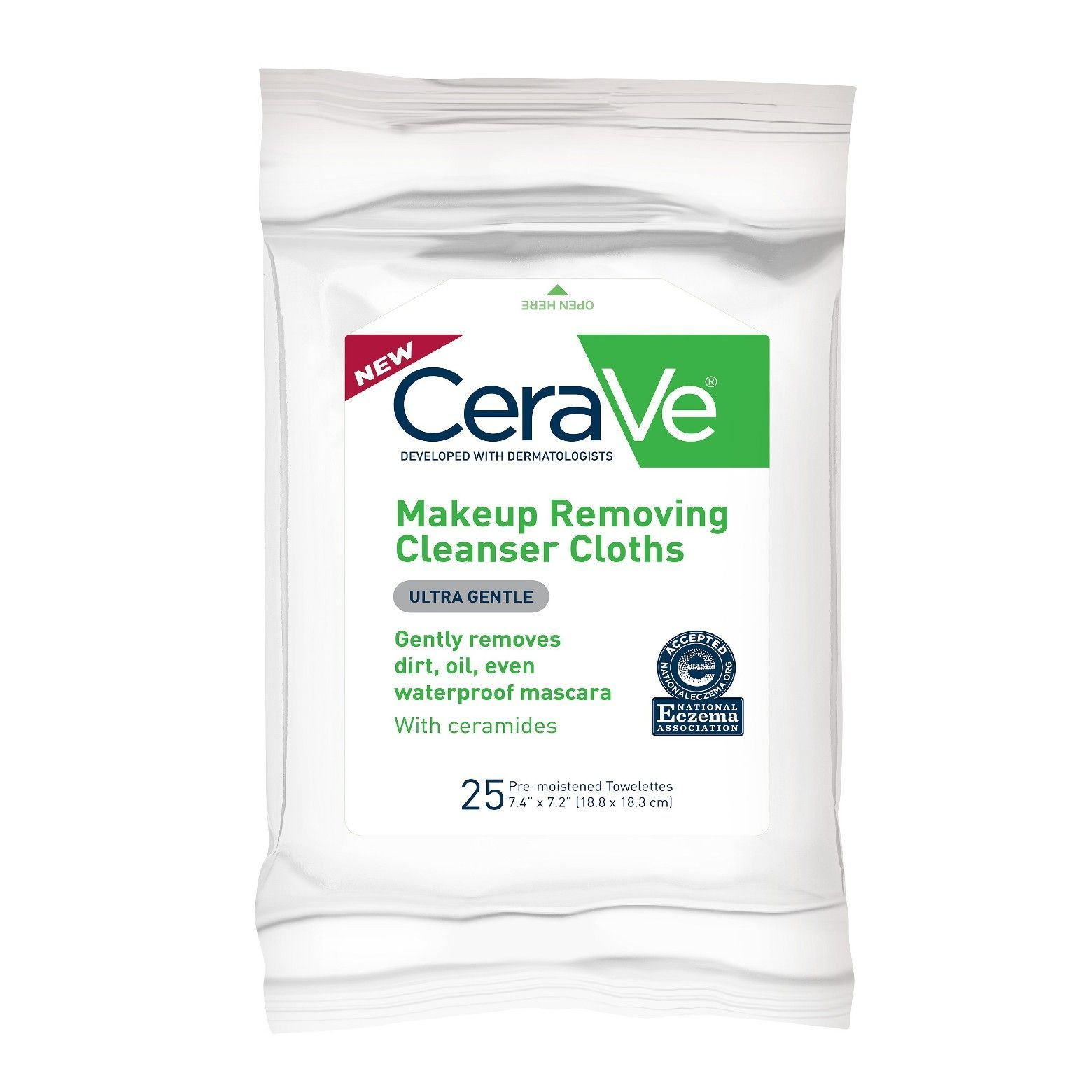 CeraVe Hydrating Makeup Remover Cloths in 25 ct are ultra