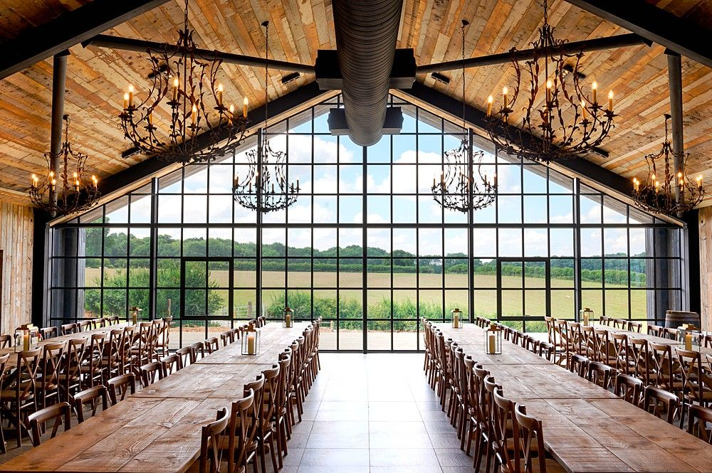 Stylish Barn Wedding Venue with Large Crittal Windows in