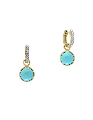 Effy Diamond, Turquoise and 14K Yellow Gold Earrings Women's Yellow Go