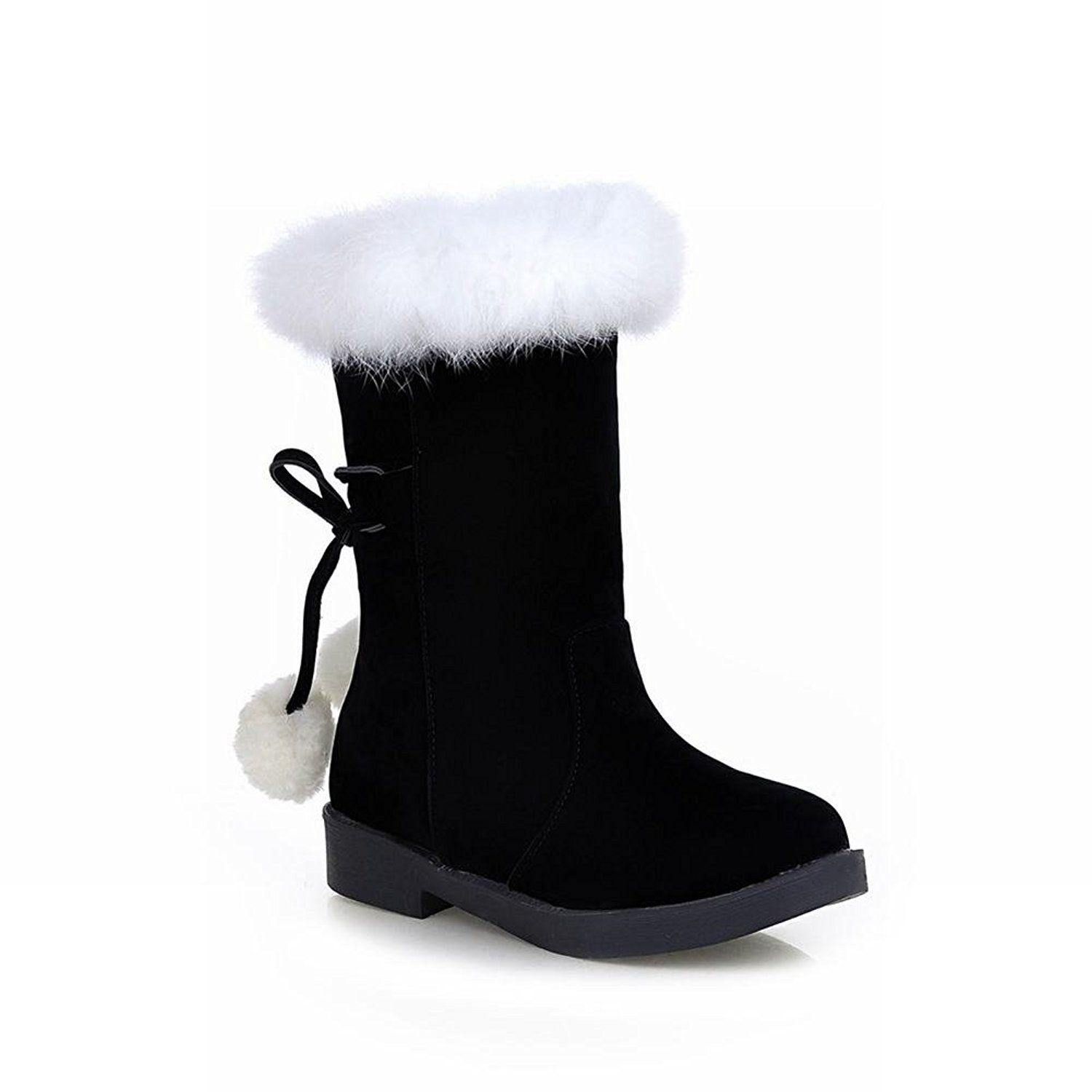 0daba173adb2 Latasa Women s Fashion Nubuck Mid-calf Faux-fur Decorated Snow Boots ...