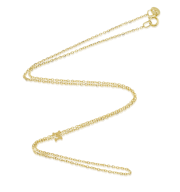 Vale Jewelry 14K Yellow Gold Asymmetric Tiny Initial Necklace #stoneandstrand #valejewelry #gold #necklace #love