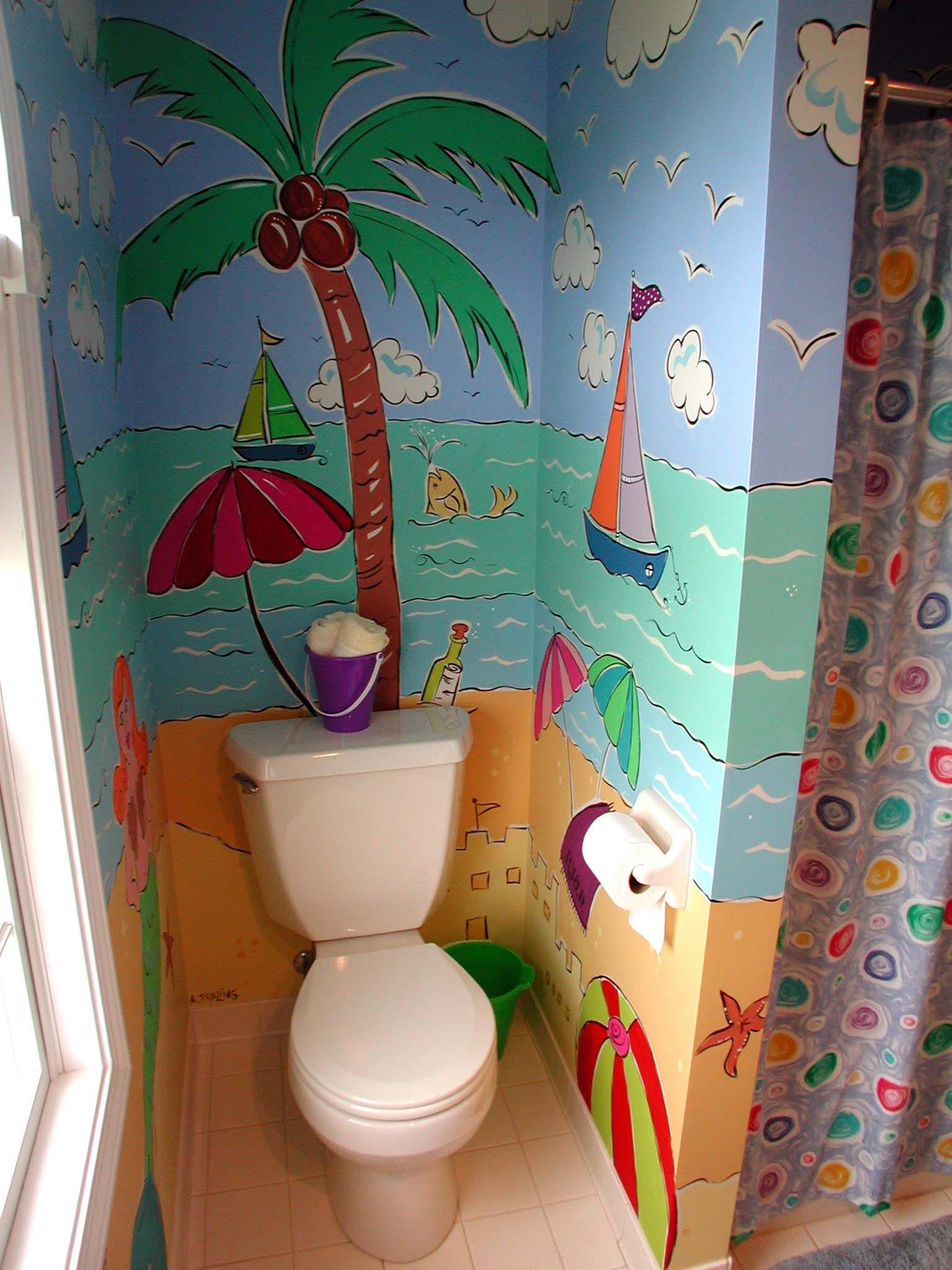 Beach themed kids bathroom - Beach Themed Mural Painted In A Kids Bathroom Bright Colors Bring Life To This Small