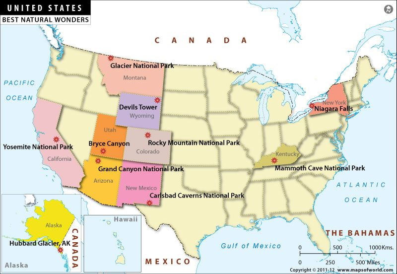 Map of Natural Wonders in USA Aupairheart Great for au pairs to