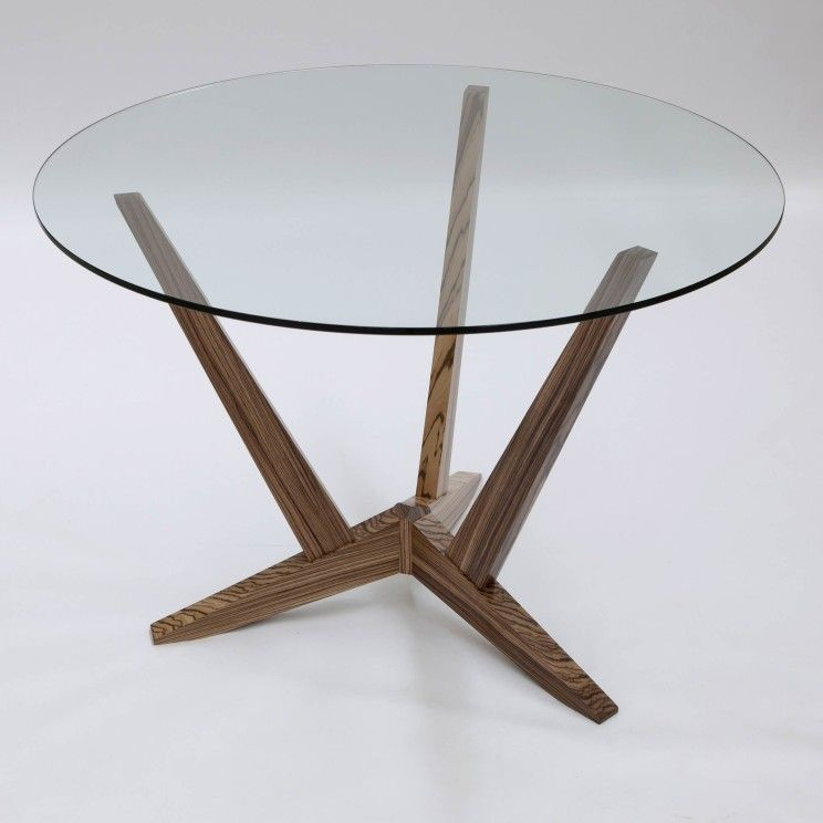 Furniture Fascinating Round Glass Table With Wooden Legs Three