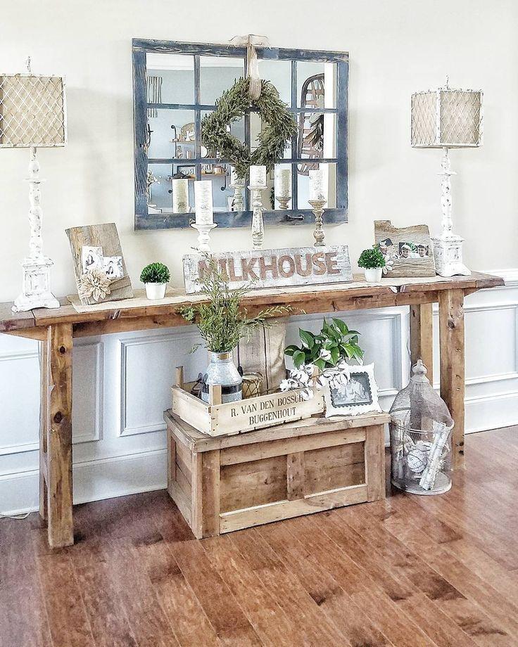 farmhouse style console table Farmhouse style console table. Rustic Narrow Table, Hallway Table  farmhouse style console table