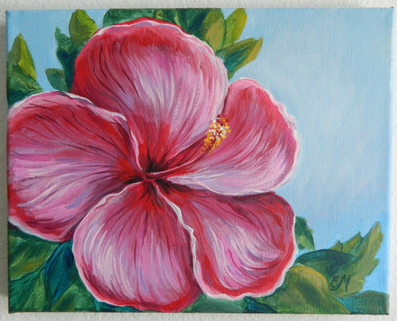Hibiscus Painting Flower Original Purple Wall Decor Fl