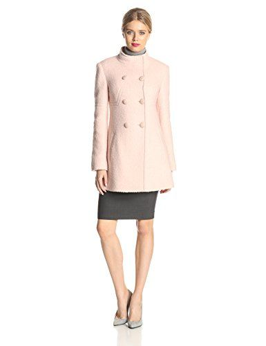 Jessica Simpson Women's Double Breasted Boucle Wool Coat, Blush ...