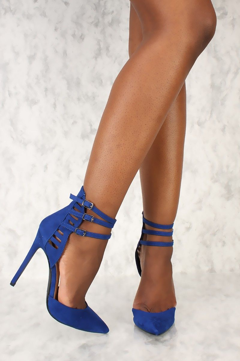 39b6955084 Sexy Royal Blue Strappy Pointy Toe Single Sole High Heels Faux Suede ...