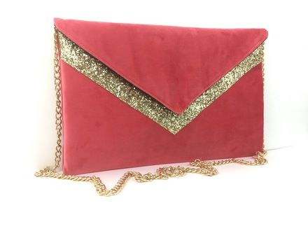 b9092eab87 Pochette de soirée mariage rose corail en velours et paillettes dorées  chaîne dorée : Sacs à main par fil-des-toiles