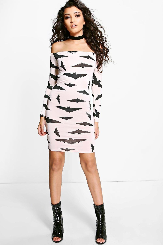 Amy halloween bat off the shoulder dress casual wear pinterest