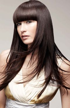 49++ Long straight hair with blunt bangs ideas