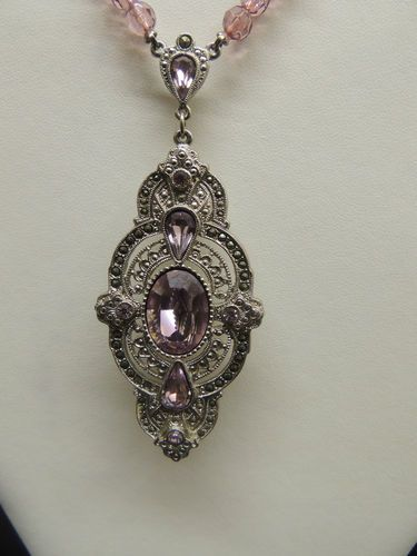 VTG Edwardian Victorian Style Marcasite Neckalce Silver Amethyst Crystal Beads