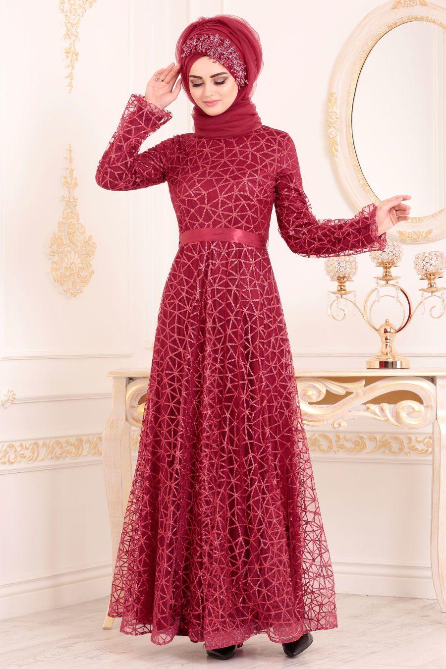 Tesetturlu Abiye Elbise Simli Bordo Renk Tesettur Abiye Elbise 31481br Tesetturisland Com Elbise The Dress Resmi Elbise