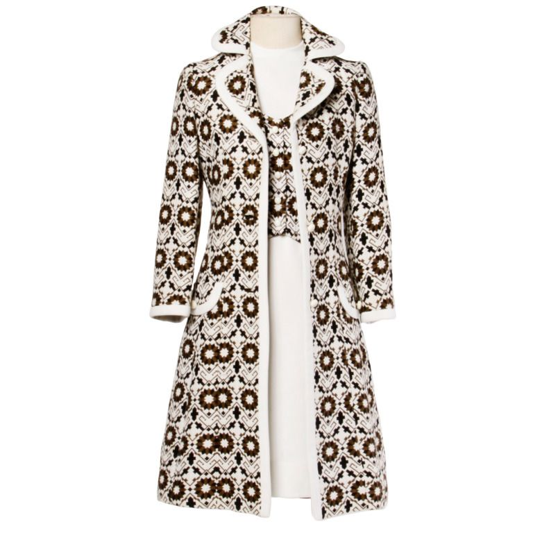 Lilli Ann 70s Vintage Tapestry Coat   Dress Set- 2-Pc Ensemble ...