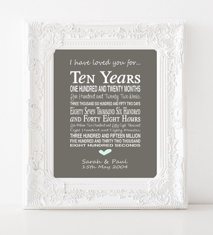 10th Anniversary Gift Personalised By Pinkmilkshakedesigns 10th