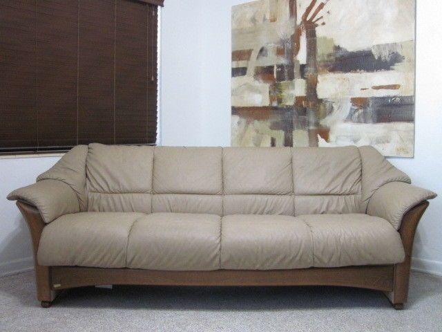 Ekornes Stressless Oslo Model 4 Seater Sofa In An Upgraded Paloma