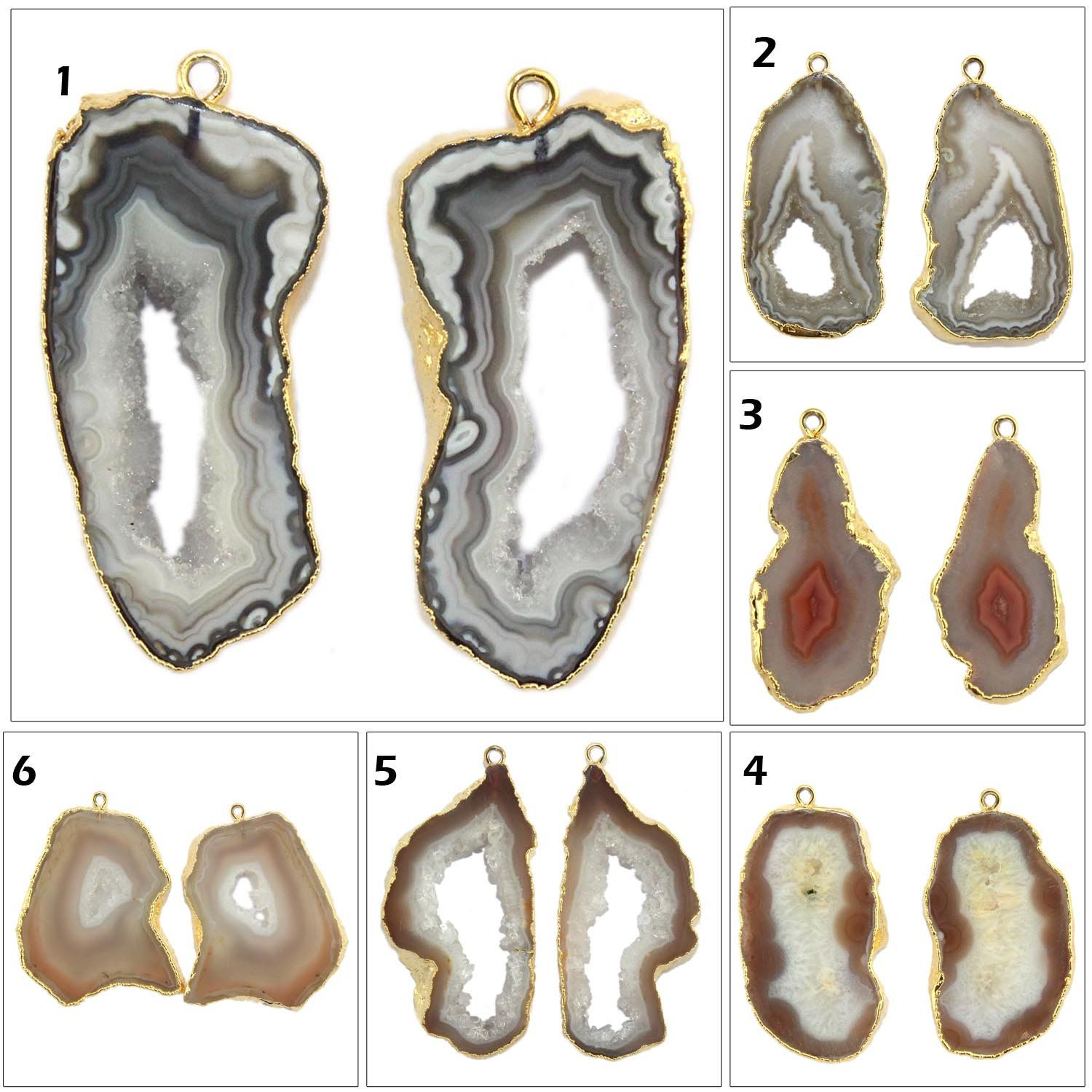 Rare Natural Geode Agate Slice Druzy Silver Electroplated Connectors Pairs For Making Earrings Gemstone Geode Connector Making DIY Jewelry